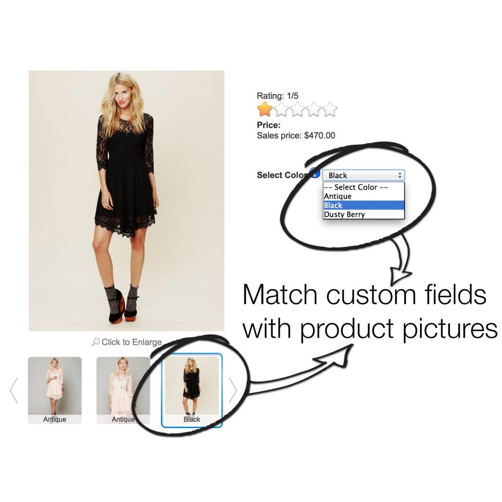 Change Product Image on selecting different colors ...