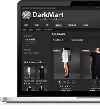 Responsive Joomla Virtuemart Template - DarkMart